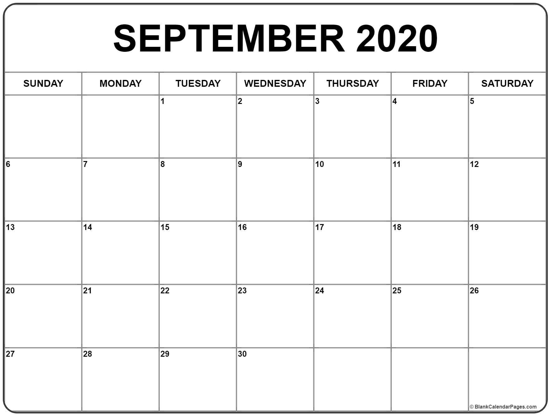 September 2020 Calendar 51 Calendar Templates Of 2020 intended for Calender August And September 2020