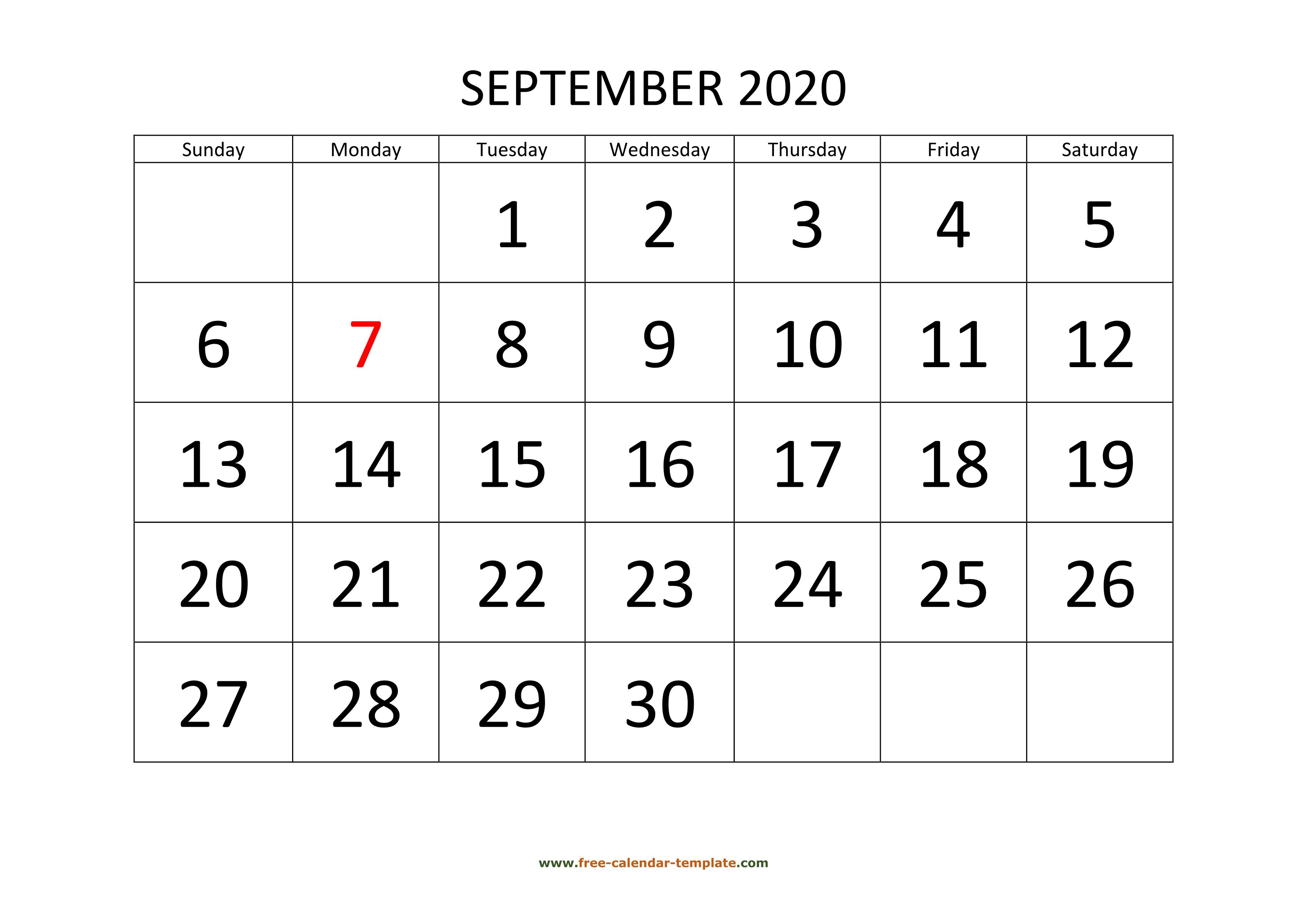September 2020 Calendar Designed With Large Font (Horizontal inside August 2020 And September 2020 Calendar