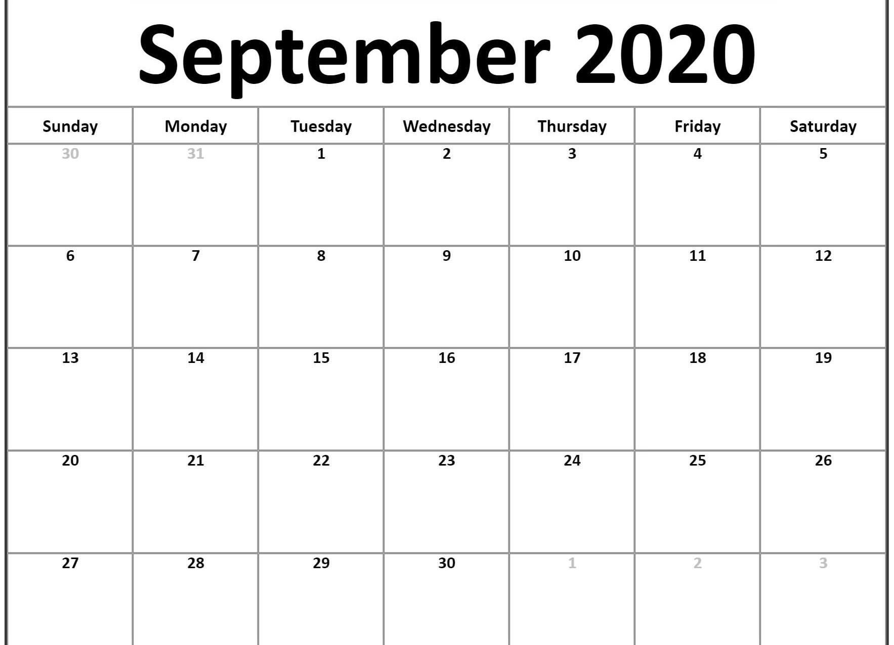 September 2020 Calendar Template | Calendar Word, Calendar for Calender August And September 2020