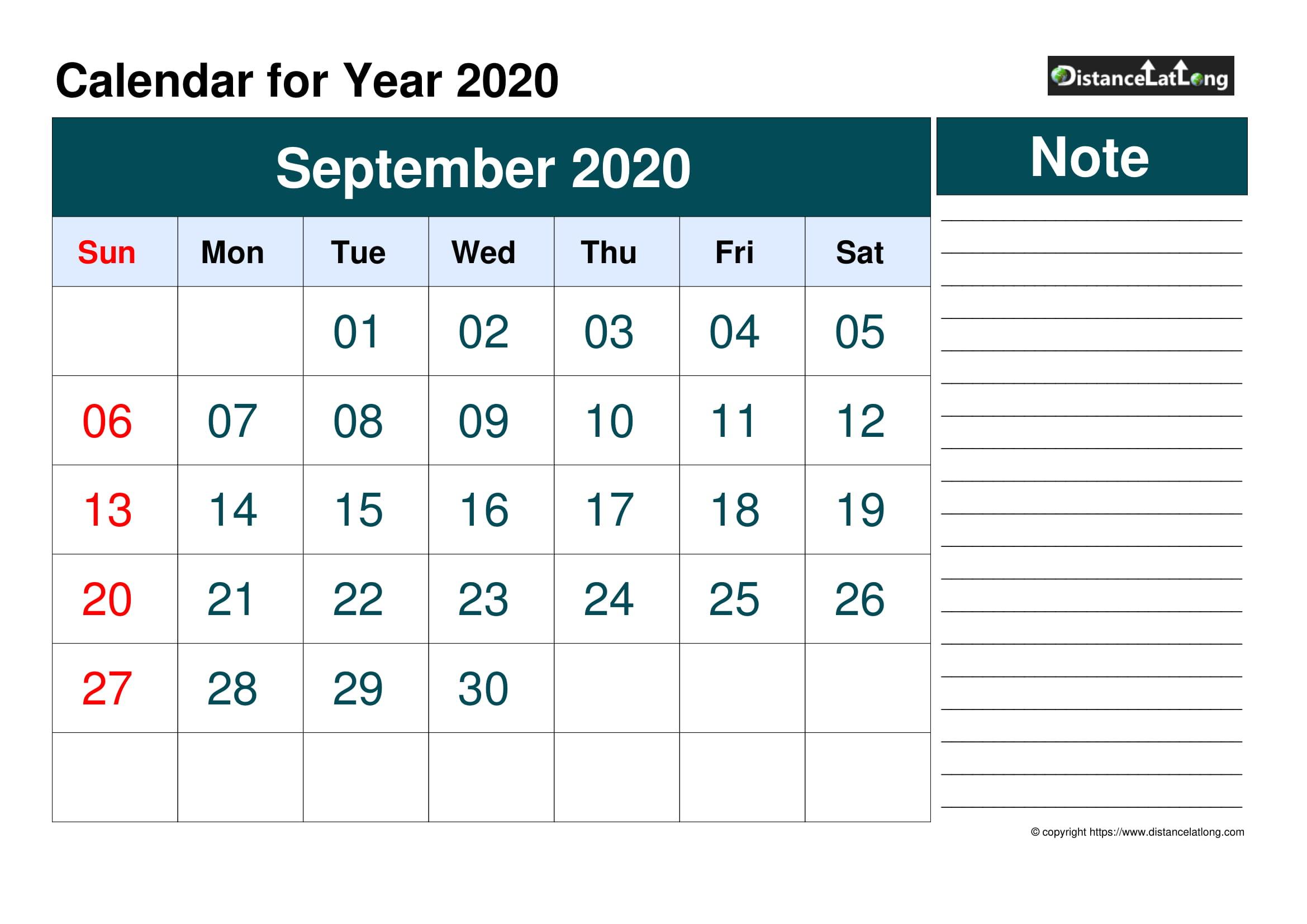 September 2020 Calendars For Pdf, Words And Jpg Formats inside Blank Sunday Through Saturday Calendar