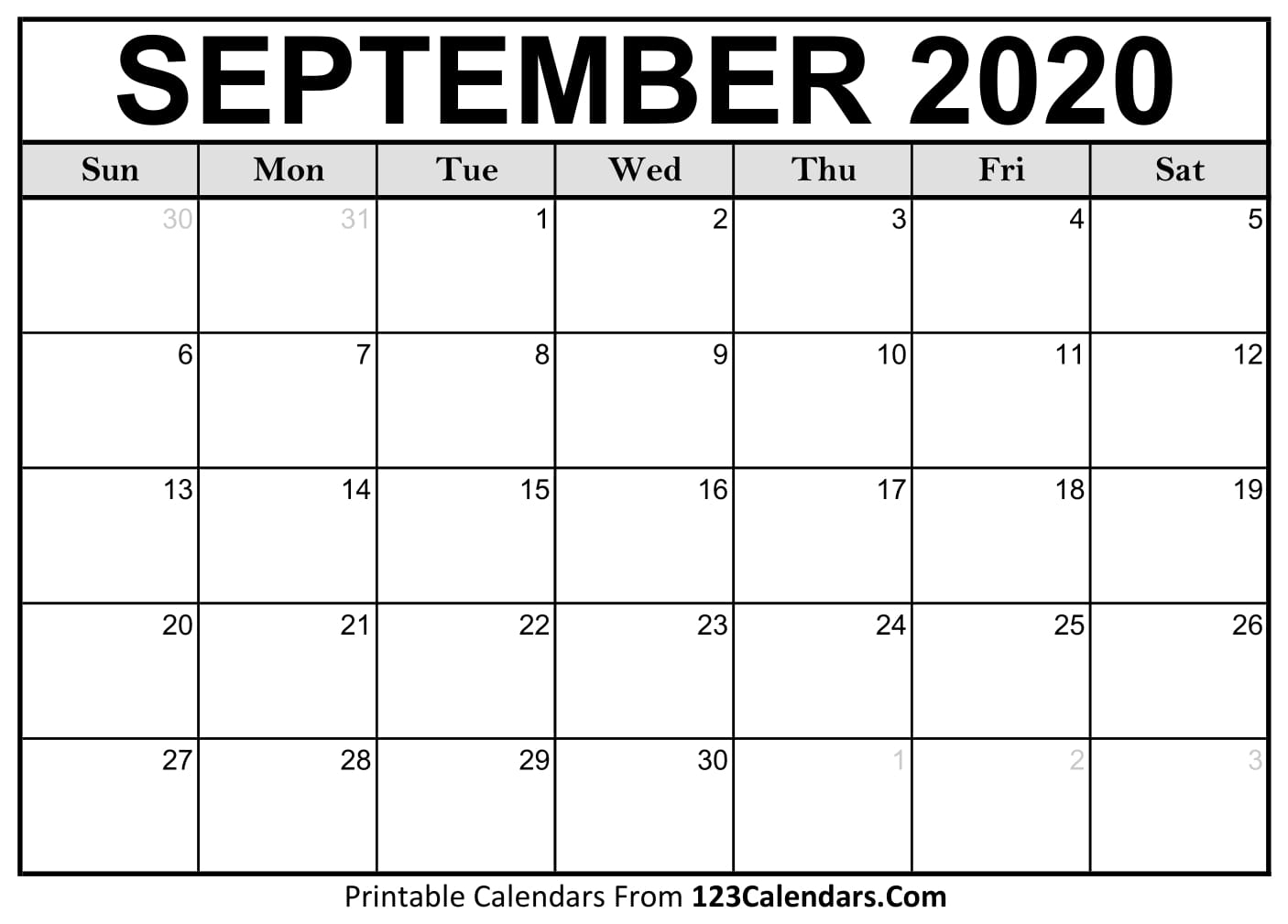 September 2020 Printable Calendar | 123Calendars for September Thru December 2020 Calendar