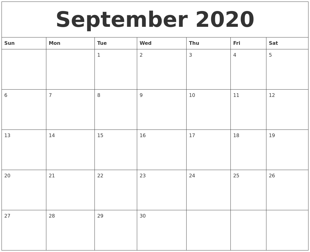 September 2020 Weekly Calendars with Weekday Calendar Printable
