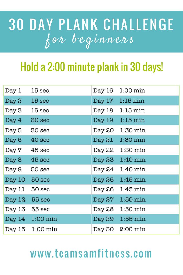 September 30 Day Plank Challenge – Teamsam Fitness for 30 Day Plank Challenge Printable