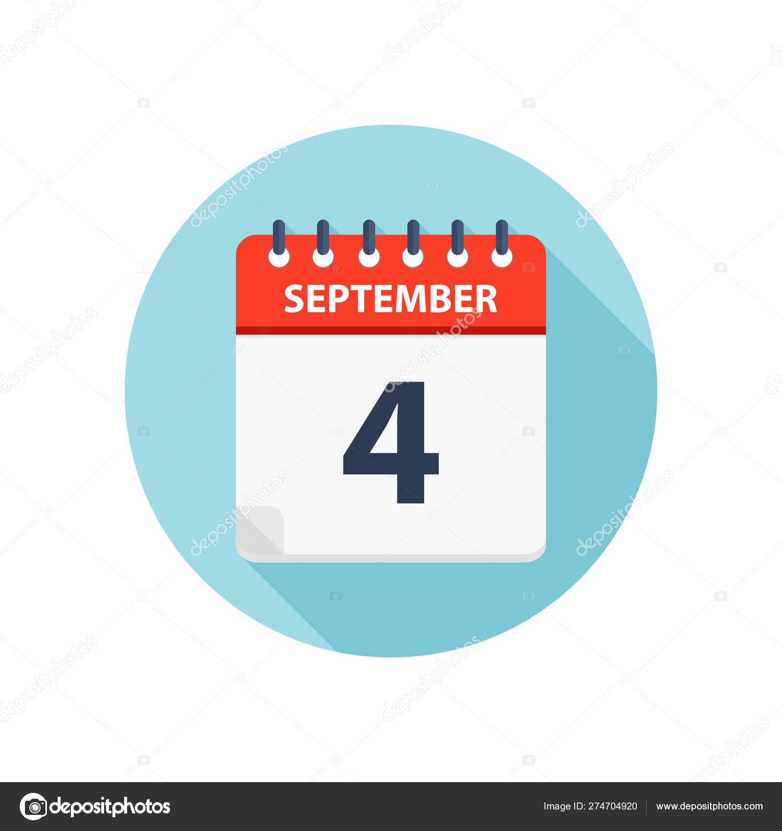 September 4  Calendar Icon  Round Calendar Design Template with Calendar Icon Round