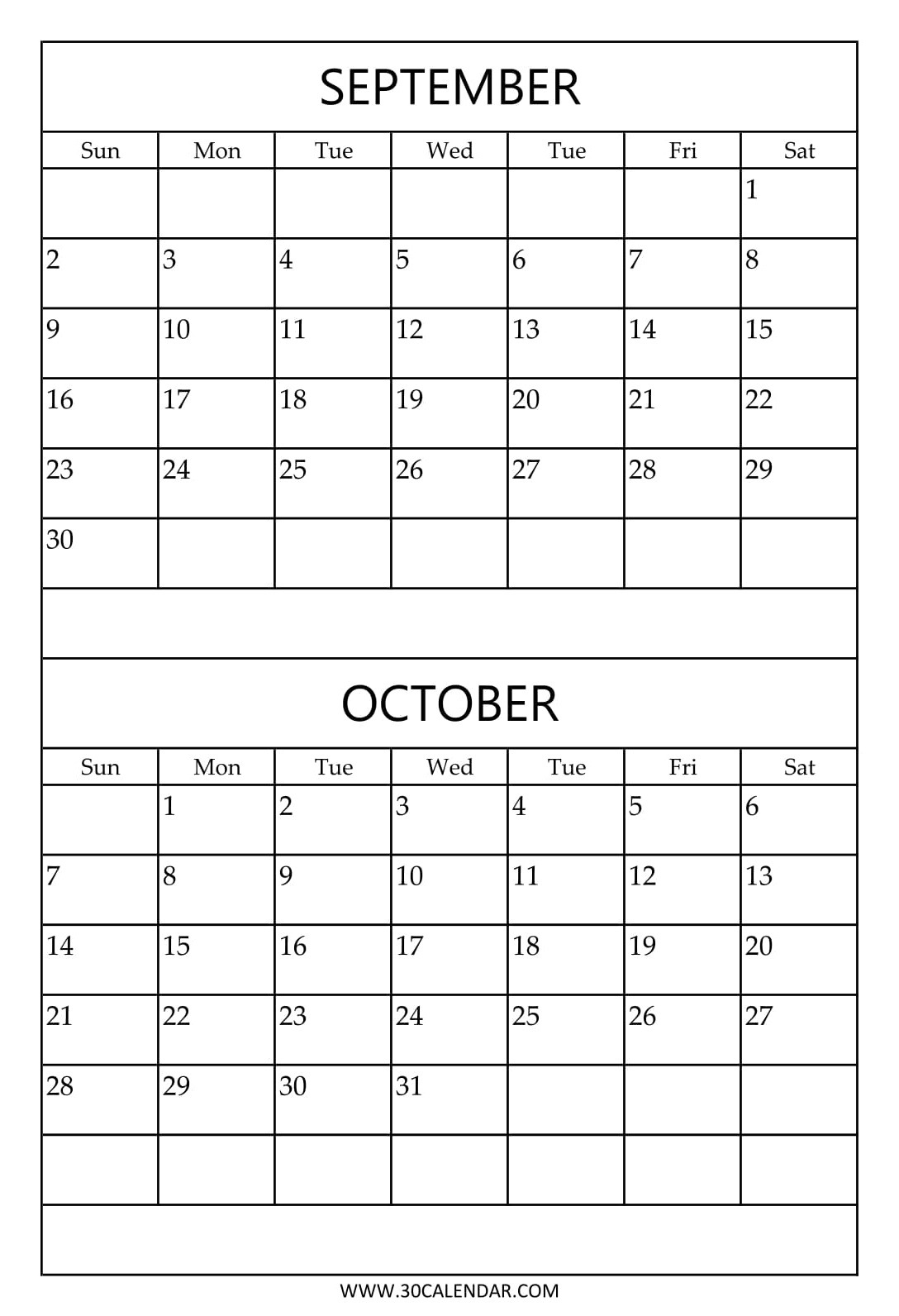 September And October 2018 Calendar | Two Monthly Calendar throughout Two Month Calendar Template
