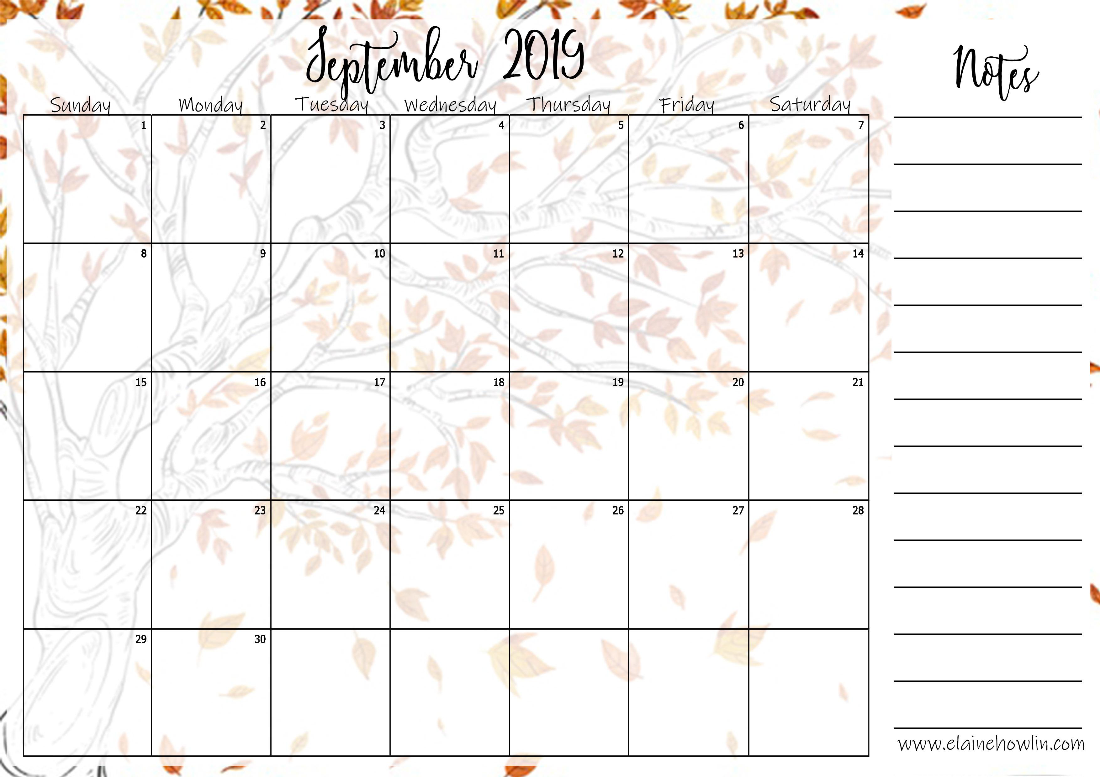 September Content Planner Calendar Template – Elaine Howlin for Disney Blitz Calendar