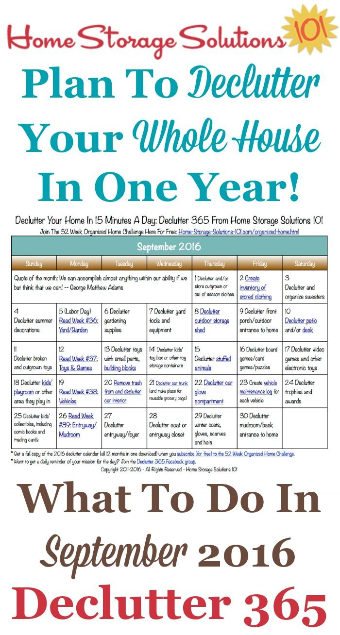 September Declutter Calendar: 15 Minute Daily Missions For pertaining to 30 Day Declutter Calendar