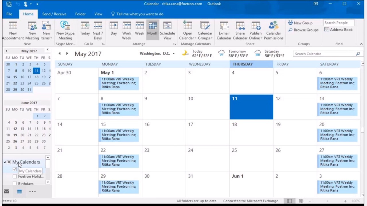 Set Multiple Calendar View In Outlook 2016. with View Calendar In Outlook 2016