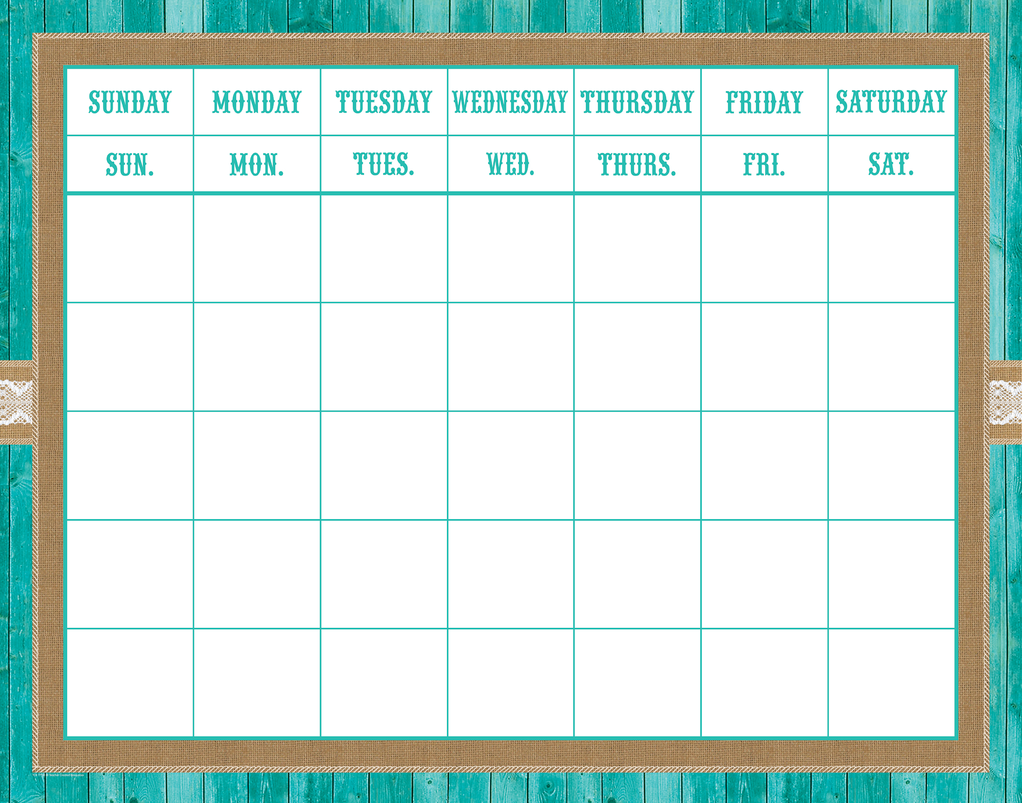 Shabby Chic Calendar Grid | Shabby Chicburlap Classroom with regard to Calendar With Large Squares