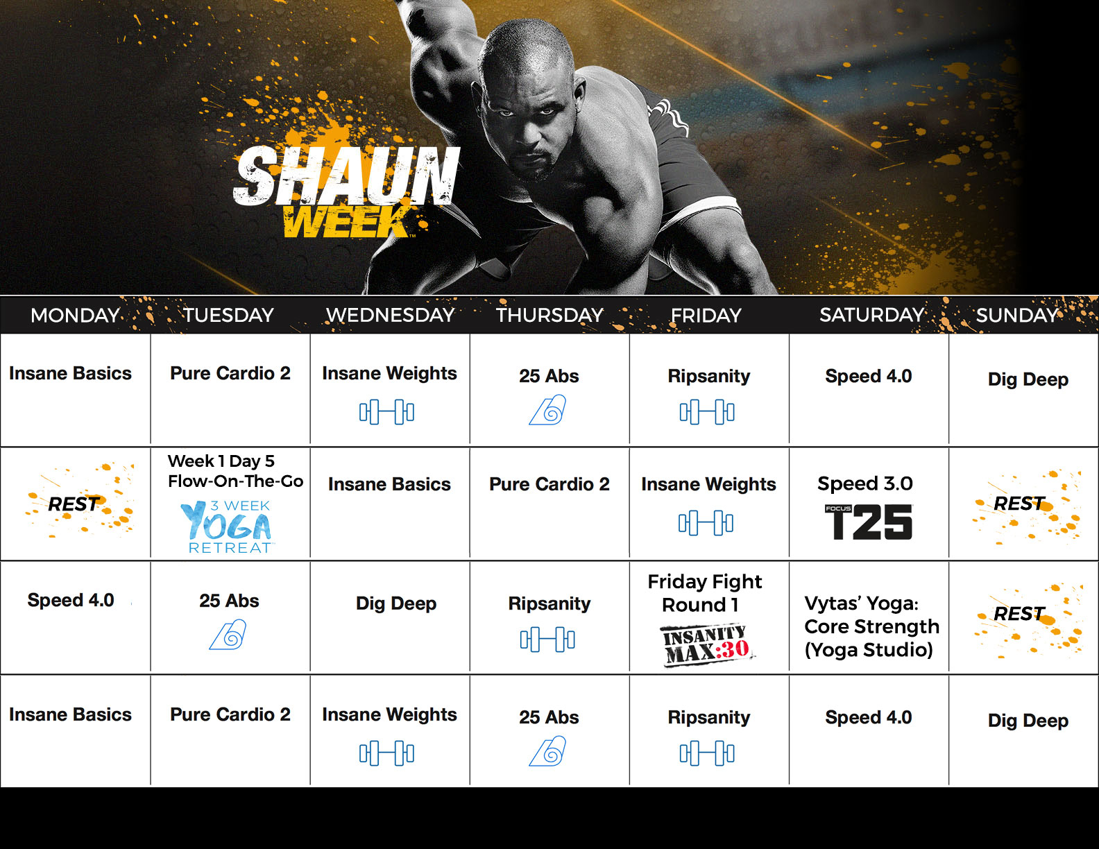 Shaun T Shaun Week Calendar throughout Shaun T Calendar