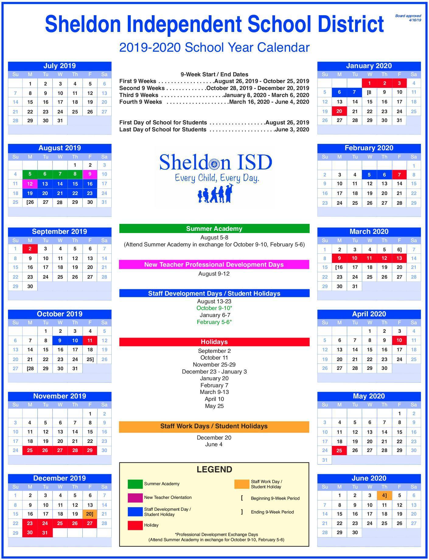 Sheldon Isd with Hisd Calendar 2018-19