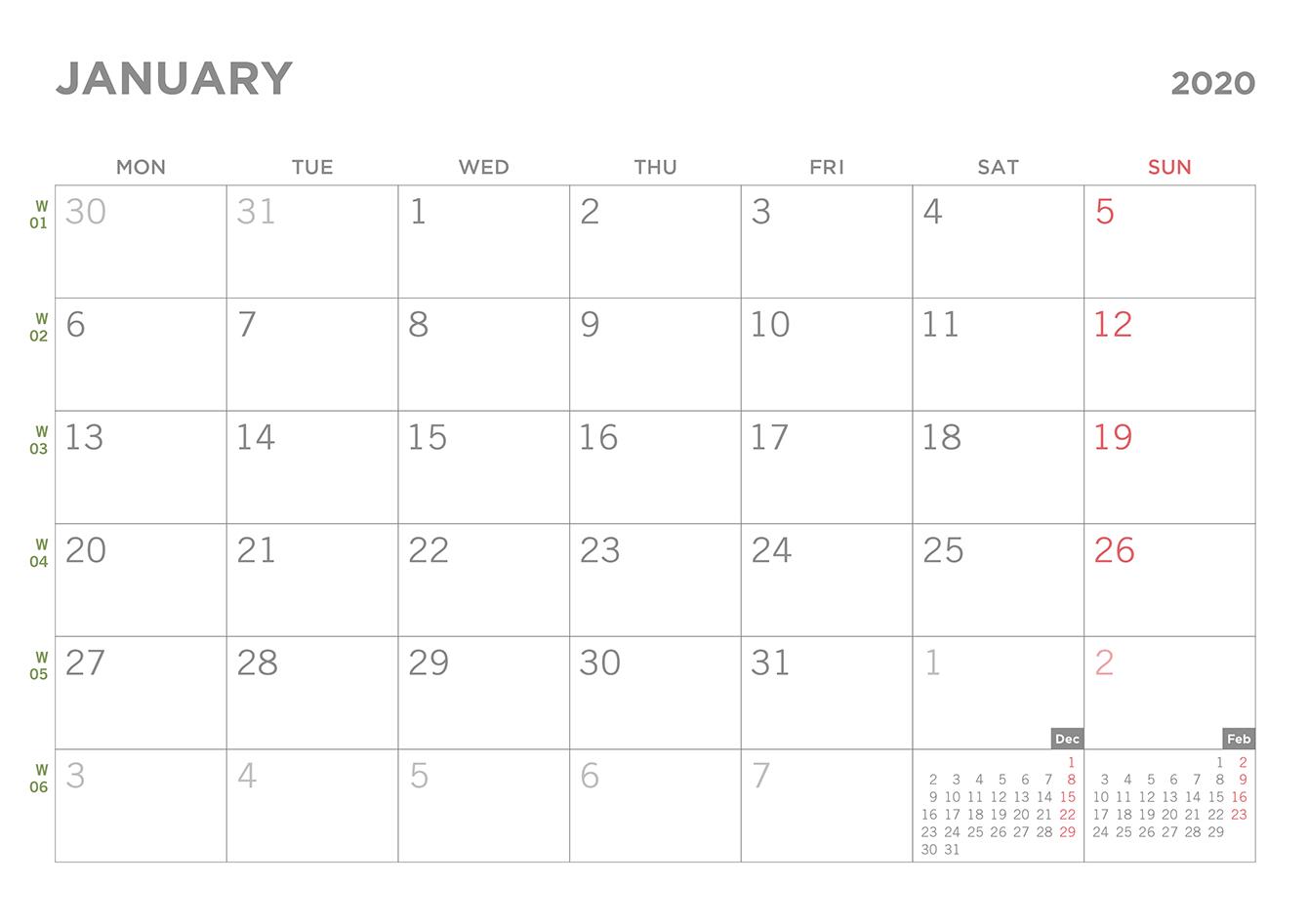 Simple 2020 Printable Pdf Calendar pertaining to Printable 2020 Calendar Starting Monday