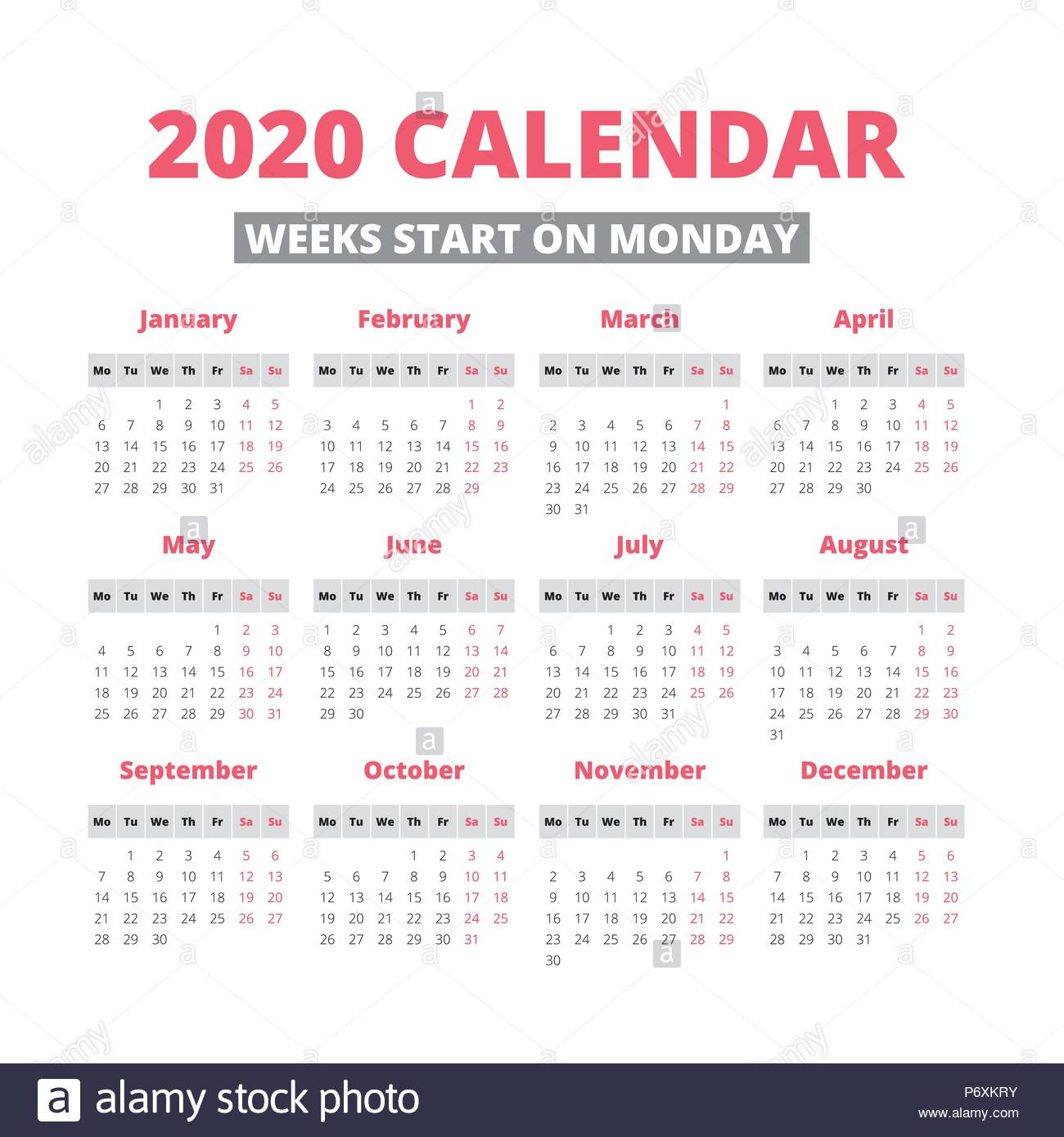Simple 2020 Year Calendar, Week Starts On Monday Stock with 2020 Calendar Mondays