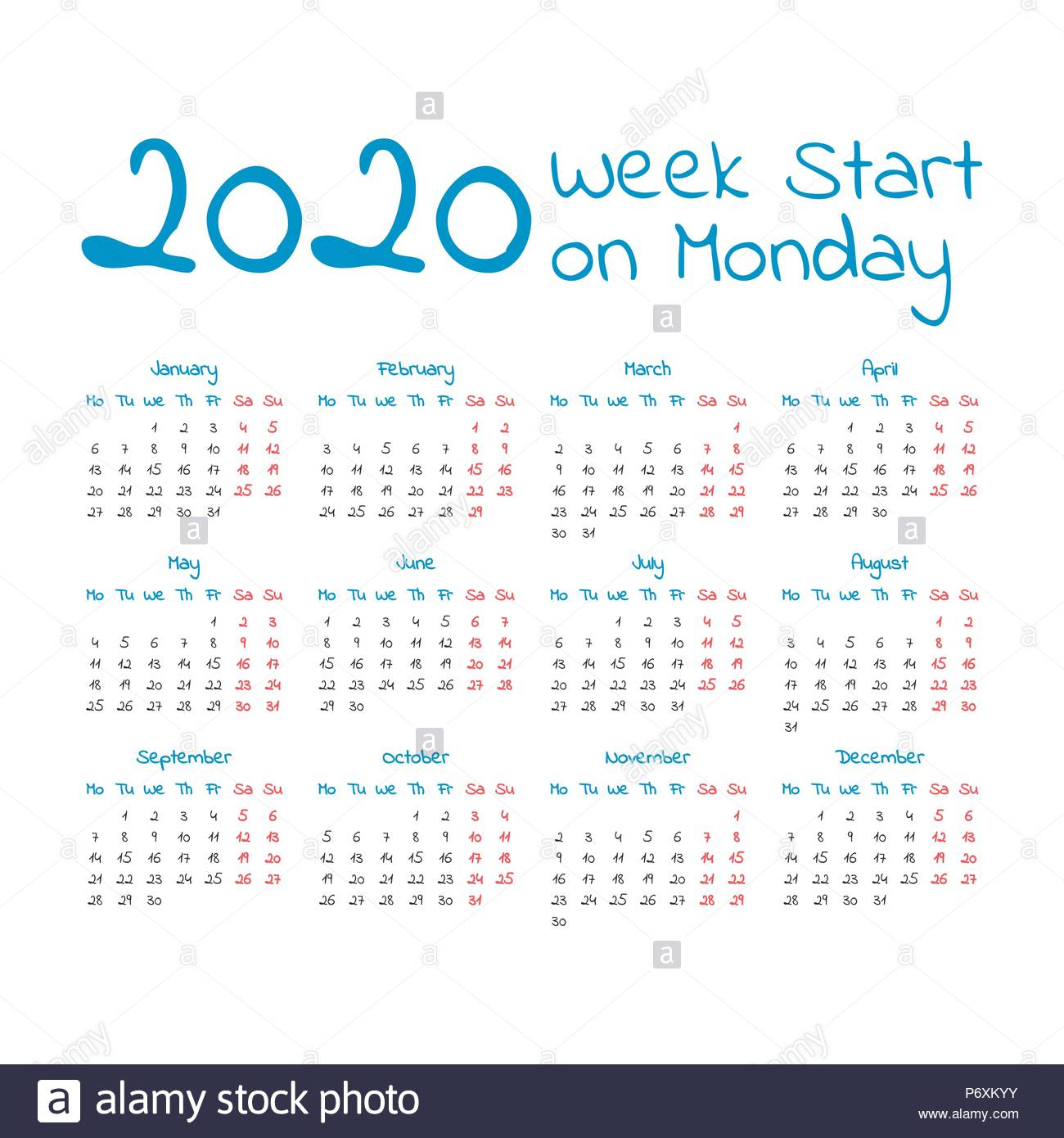 Simple 2020 Year Calendar, Week Starts On Monday Stock with regard to 2020 Calendar Mondays