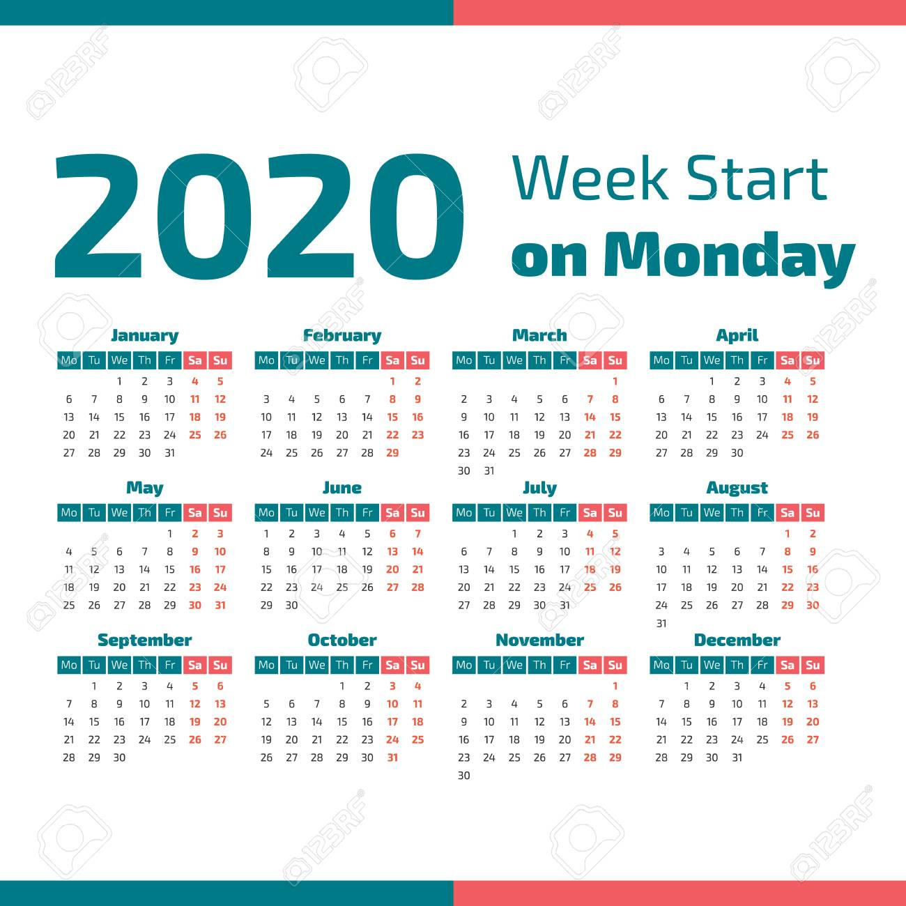 Simple 2020 Year Calendar, Week Starts On Monday Vector Illustration for 2020 Calendar Mondays