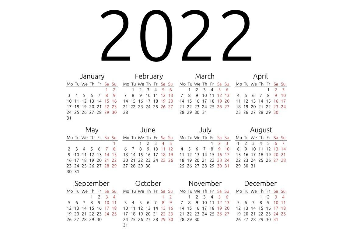 Simple Calendar 2022, Monday By Manyconcepts On regarding Calendario Zbinden 2020