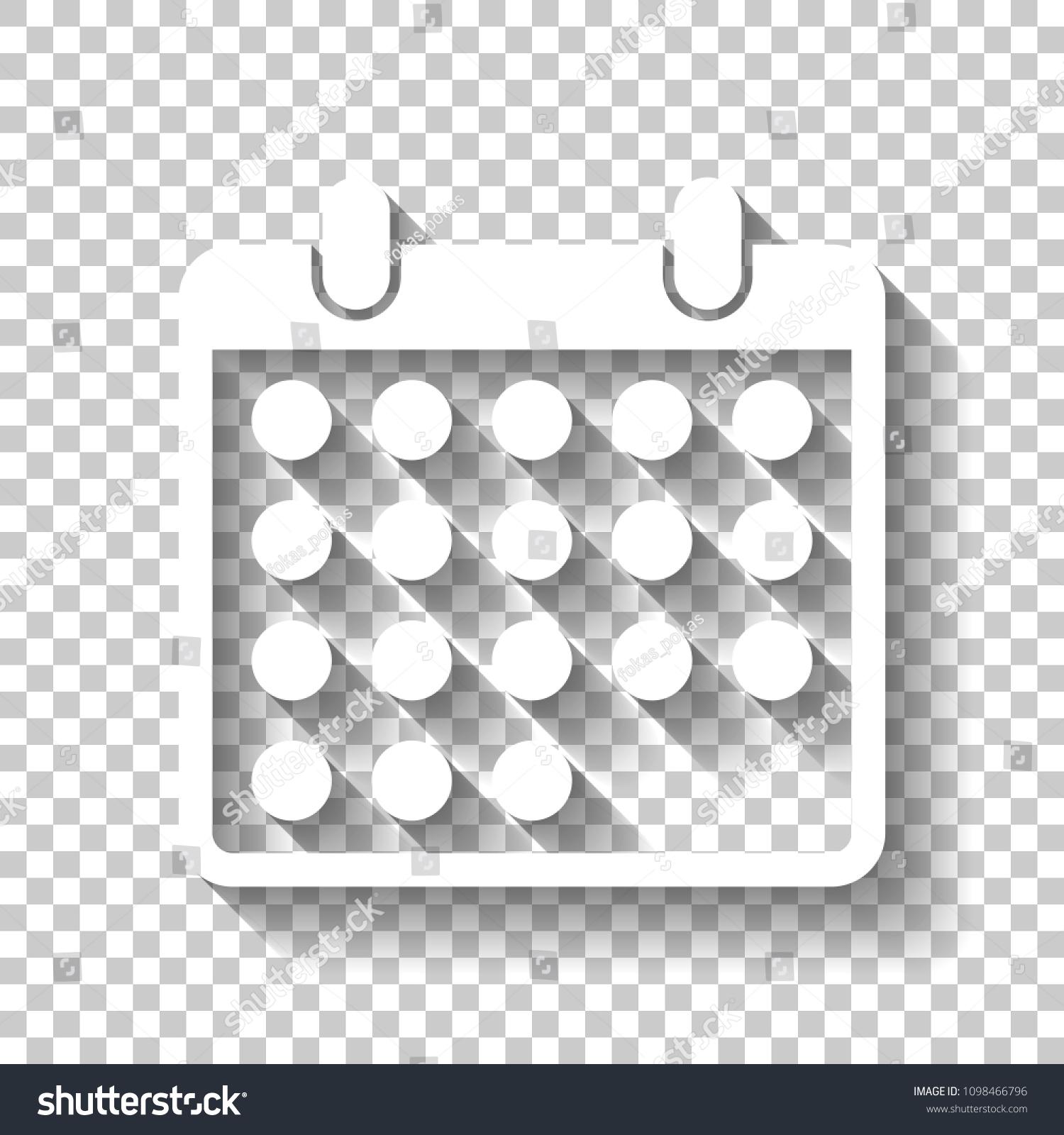 Simple Calendar Icon White Icon Shadow Stock Vector (Royalty for Calendar Icon White