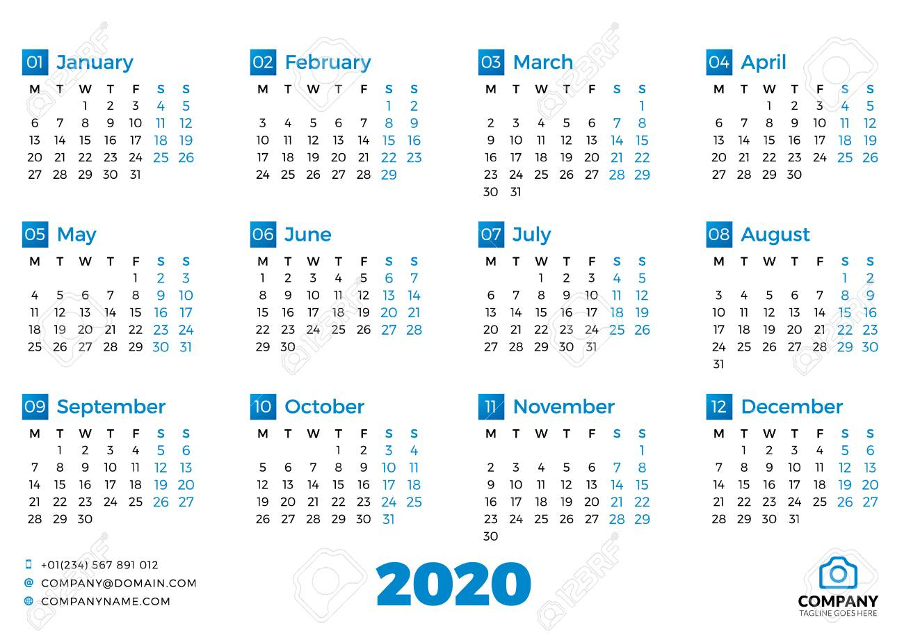 Simple Calendar Template For 2020 Year. Week Starts On Monday for 2020 Calendar Mondays