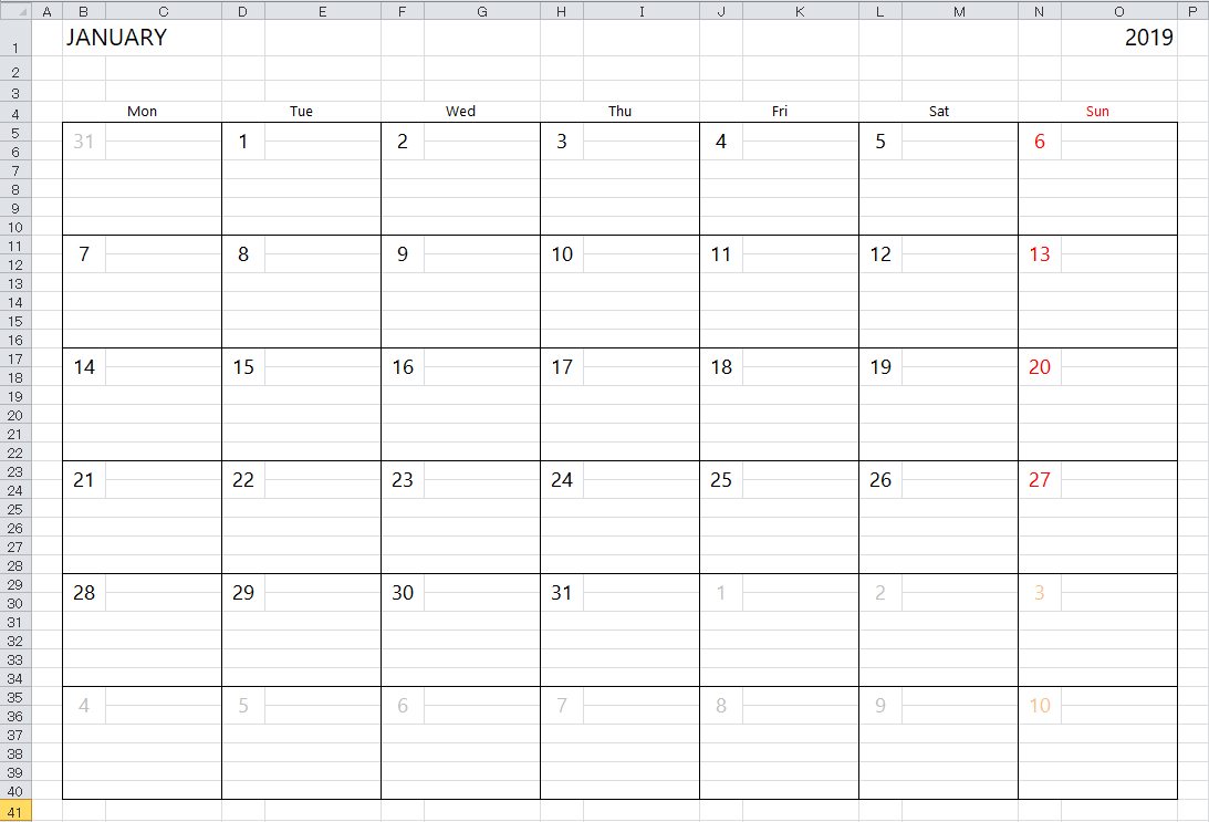 Simple Excel Calendar Template pertaining to Monday Through Saturday Schedule Template