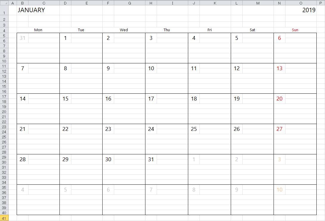 Simple Excel Calendar Template regarding Monthly Calendar In Excel