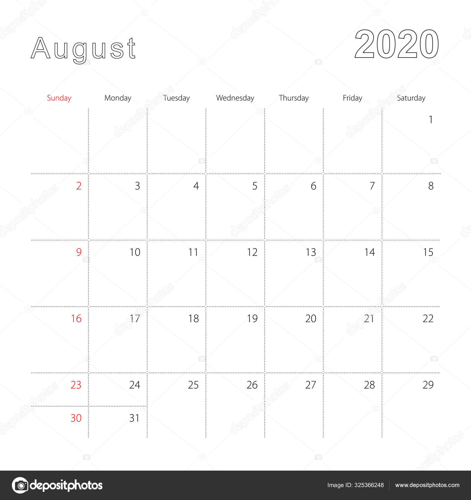Simple Wall Calendar For August 2020 With Dotted Lines. The with regard to Calendar Template With Lines