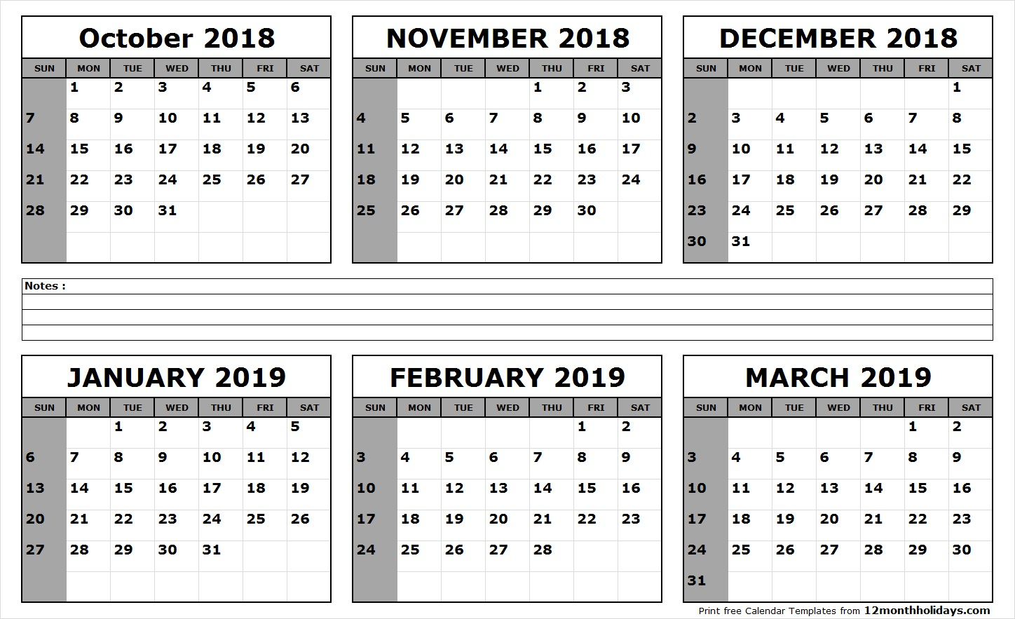 Six Month Calendar October 2018 To March 2019  All 12 Month within Printable Six Month Calendar