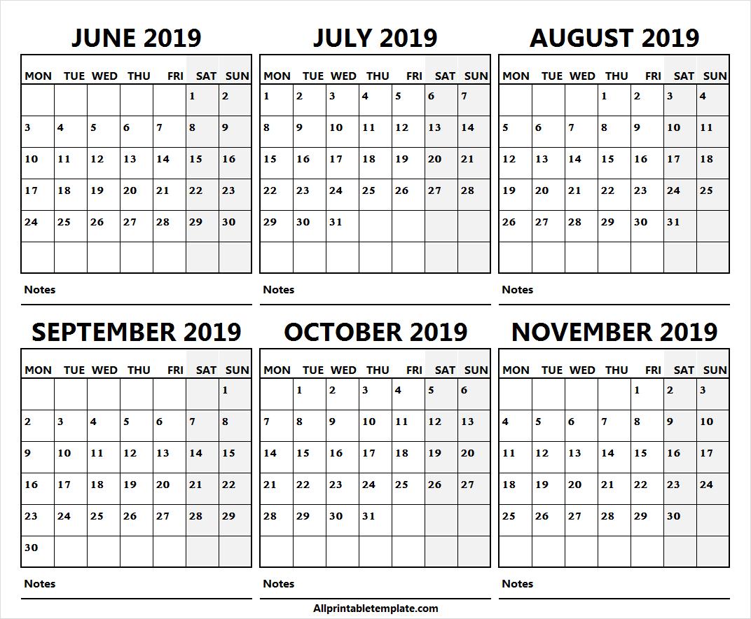 Six Month June November 2019 Calendar Free | 2019 Calendar intended for Six Month Calendar Template