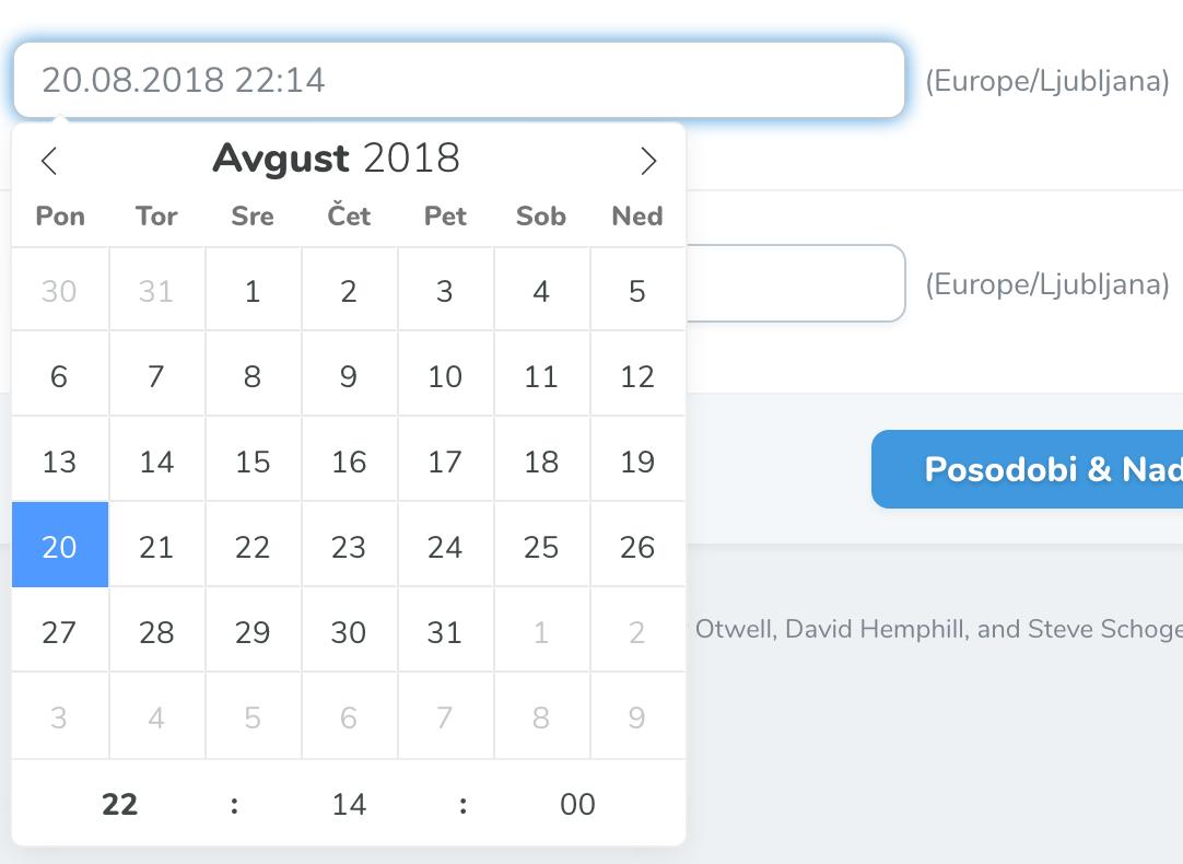 Slovenian Datepicker For Laravel Nova for Php Calendar Date Picker