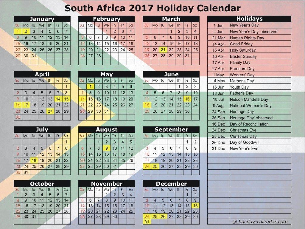 South Africa 2017  2018 Holiday Calendar | Holiday Calendar with regard to 2017 School Calendar South Africa