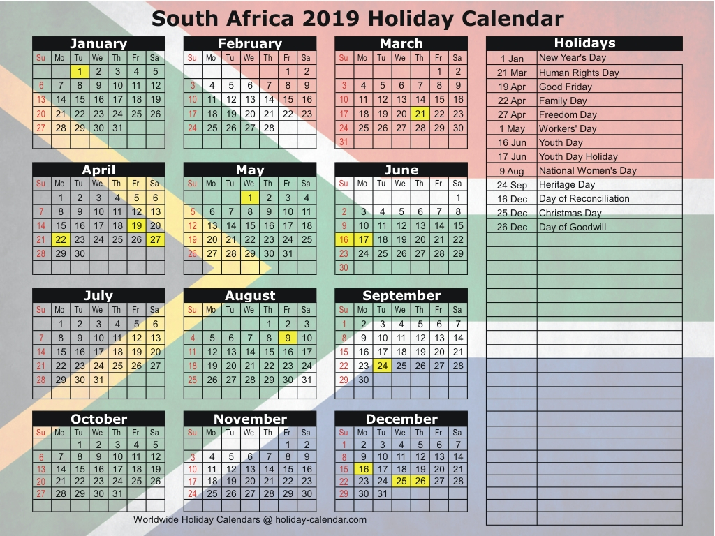 South Africa 2019  2020 Holiday Calendar pertaining to School Calendar 2020 South Africa Pdf