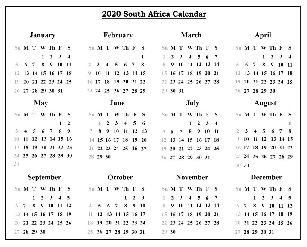 South Africa School Holidays 2020 Calendar Template (Sa in School Calendar 2020 South Africa Pdf