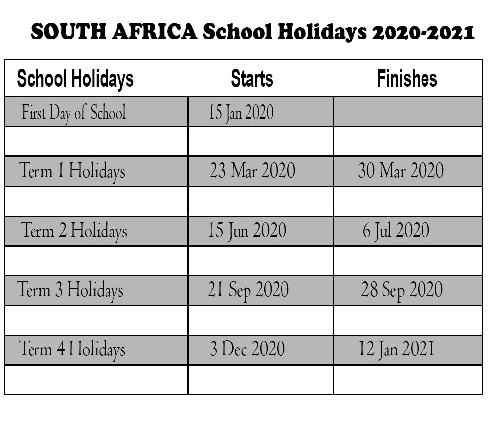 South Africa School Holidays 2020 Calendar Template (Sa intended for School Calendar 2020 South Africa Pdf