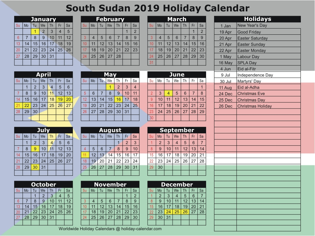 South Sudan 2019  2020 Holiday Calendar for School Calendar 2020 South Africa Pdf
