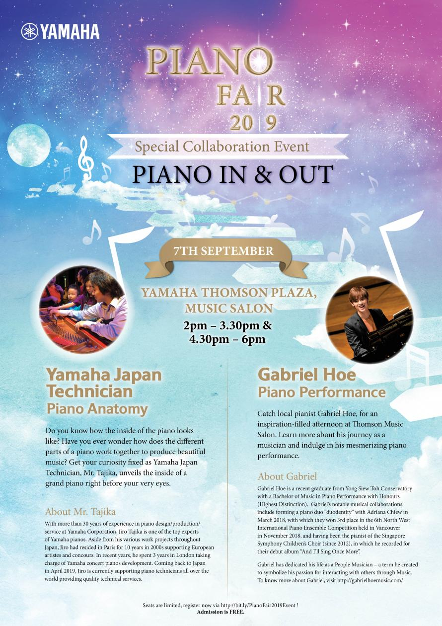 Special Collaboration Event  Piano In & Out (2 Sessions with regard to Yamaha Calendar 2020 Singapore