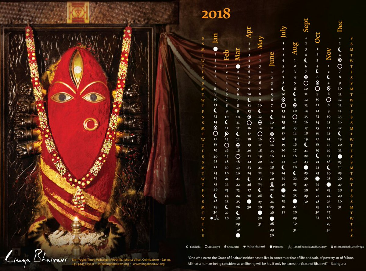 "Sphoorti On Twitter: ""my Favourite And Only #calendar For in Linga Bhairavi Calendar"