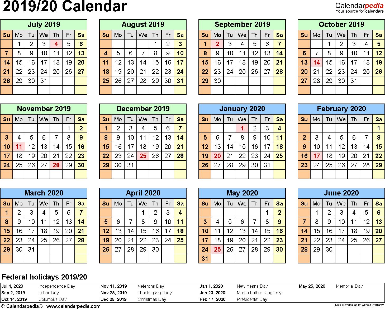 Split Year Calendars 20192020 (July To June)  Excel Templates with regard to September Thru December 2020 Calendar