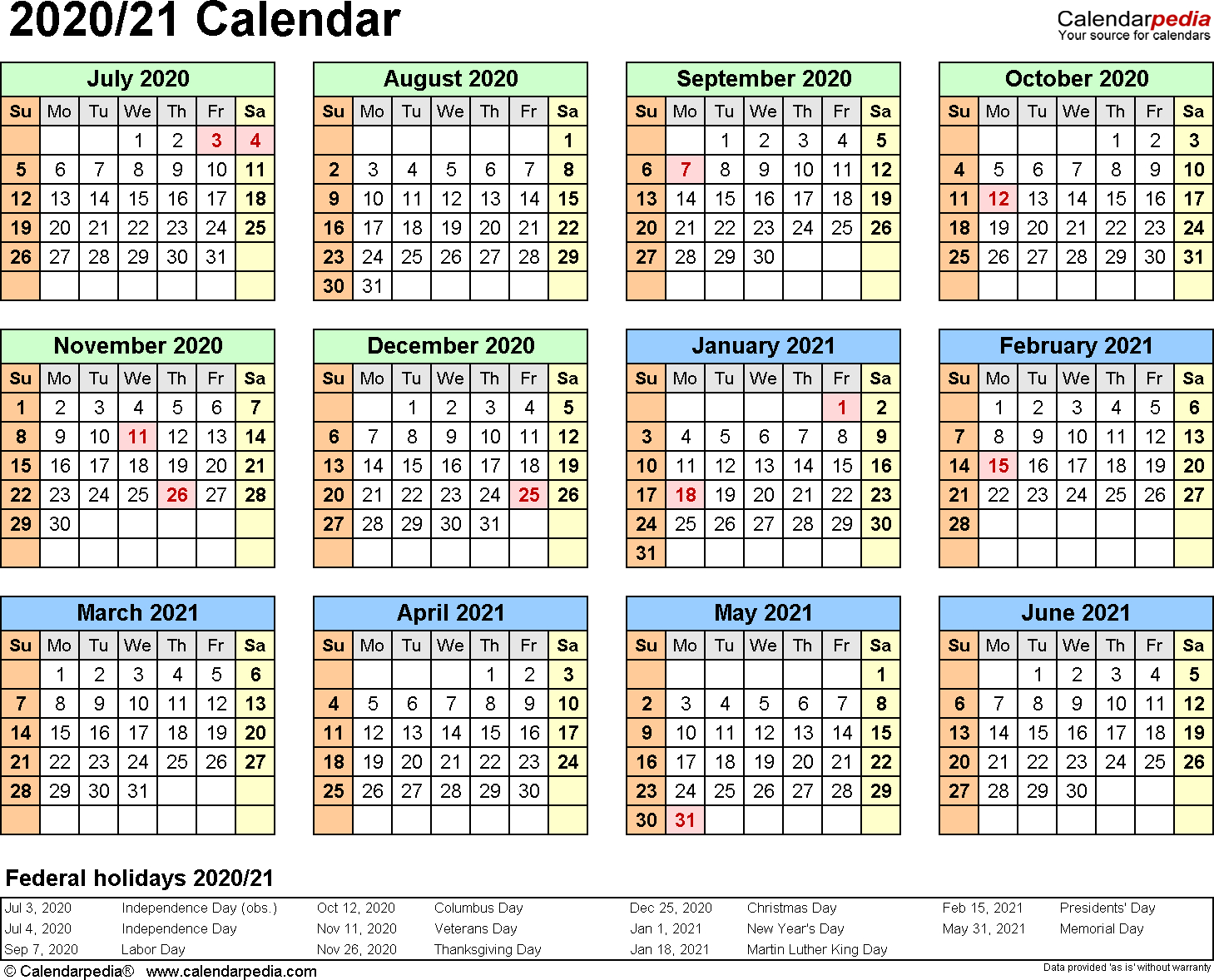 3 Year Calendar 2020 To 2021 Excel Calendar For Planning