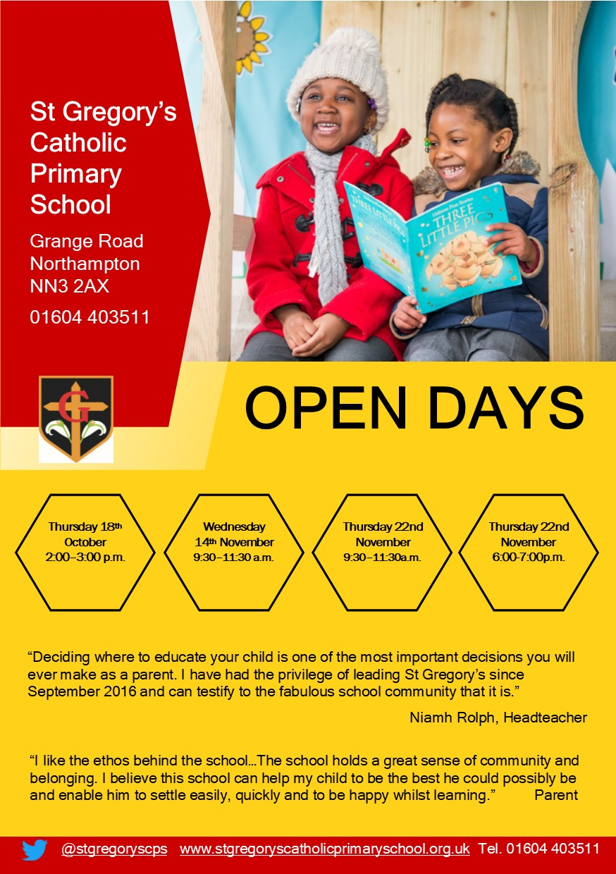 St Gregory's Catholic Primary School  Open Morning And for St Gregorys School Calendar