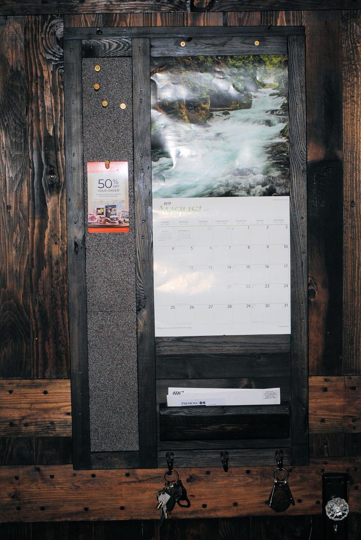 Standard Calendar Frame With Mail Organizer, 3Hook Key Holder And  Corkboard Memo Station in 12X12 Calendar Holder