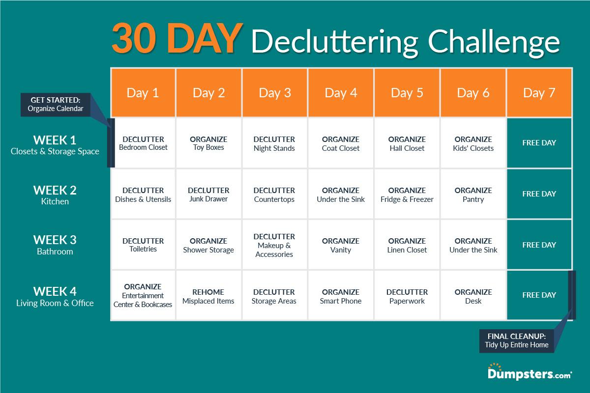 Start Fresh: Declutter Your House In 30 Days | Dumpsters in 30 Day Declutter Calendar