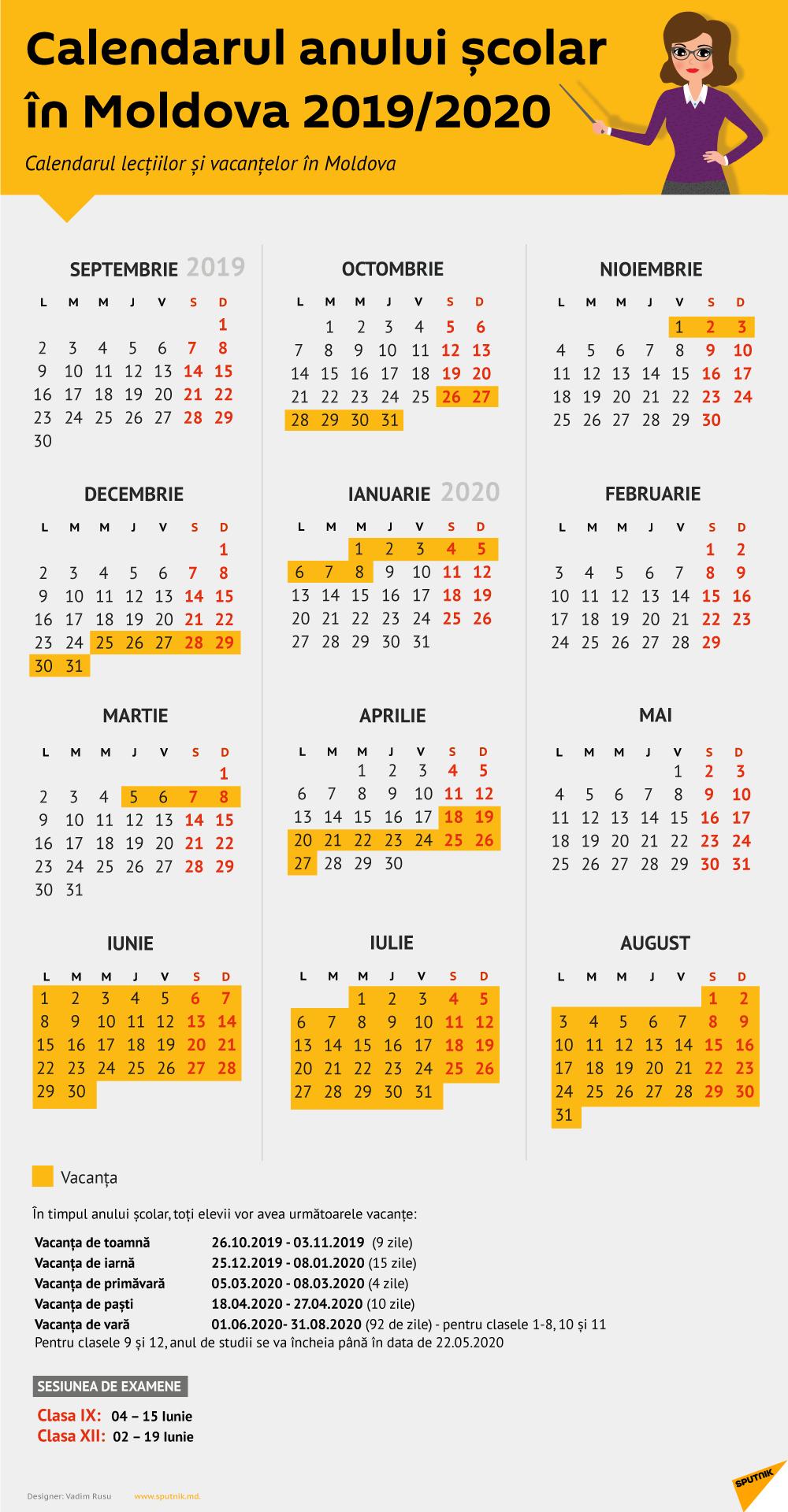 Structura Anului Școlar 2019 Și 2020  Calendar Moldova with Calendar 2020 Cu Zile Lucratoare