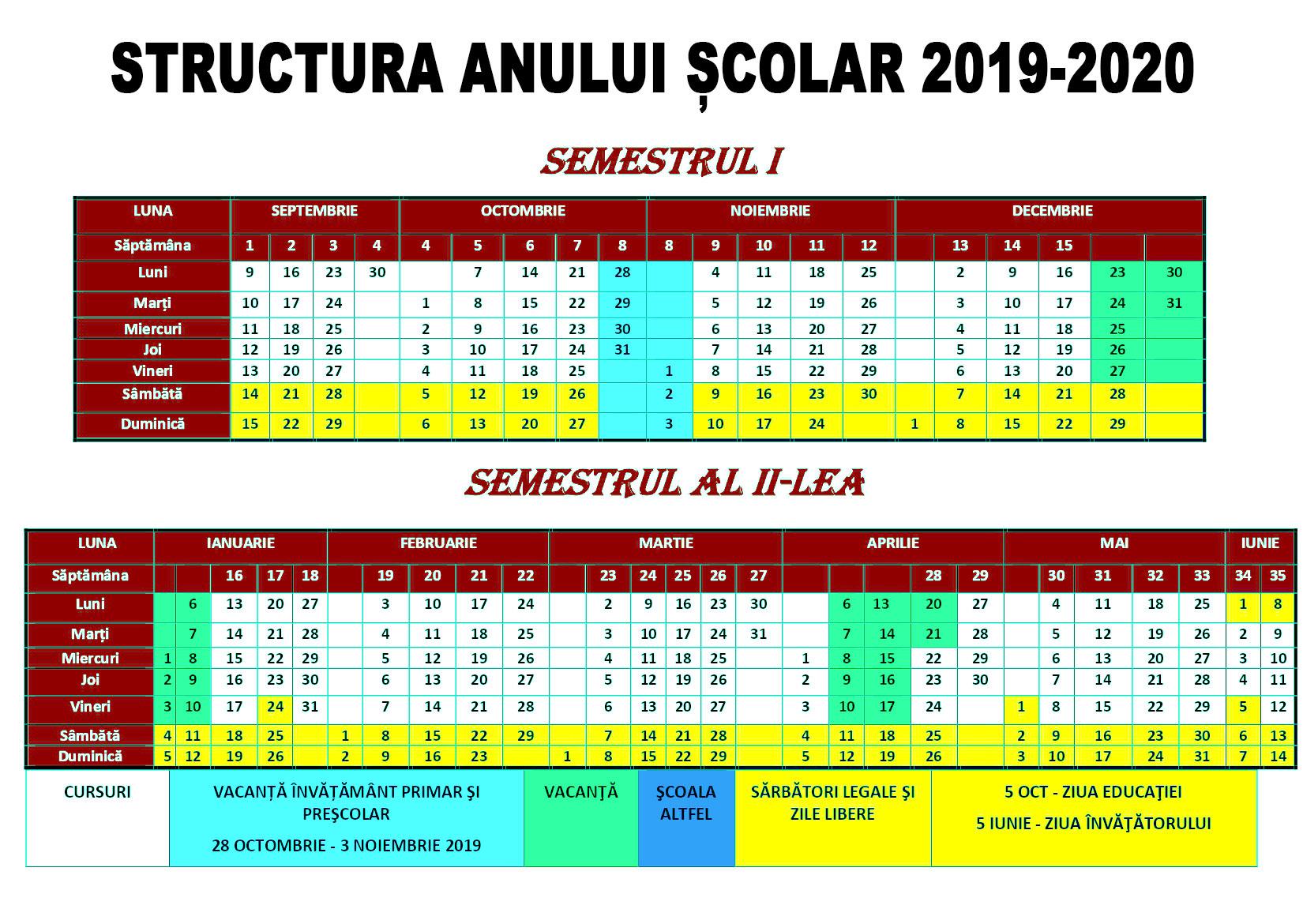 Structura Anului Școlar 20192020 + Calendar  Yve.ro pertaining to Calendar Sanatate Si Frumusete 2020
