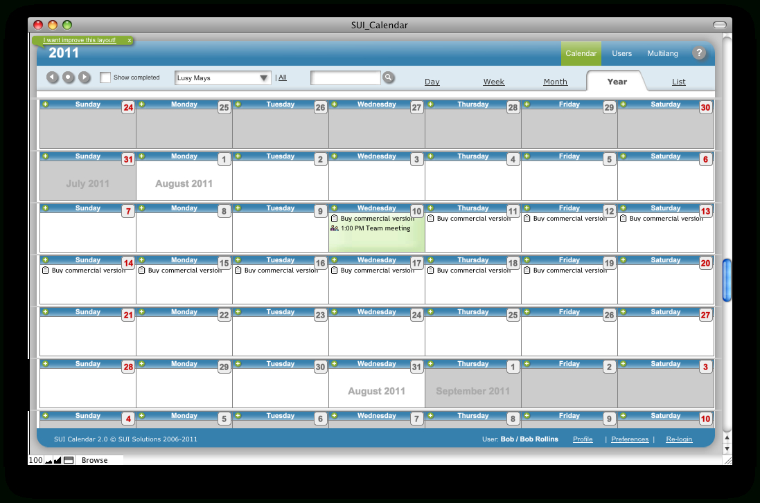 Sui Calendar, A Filemaker Pro Calendar Template. Available regarding Filemaker Calendar Template