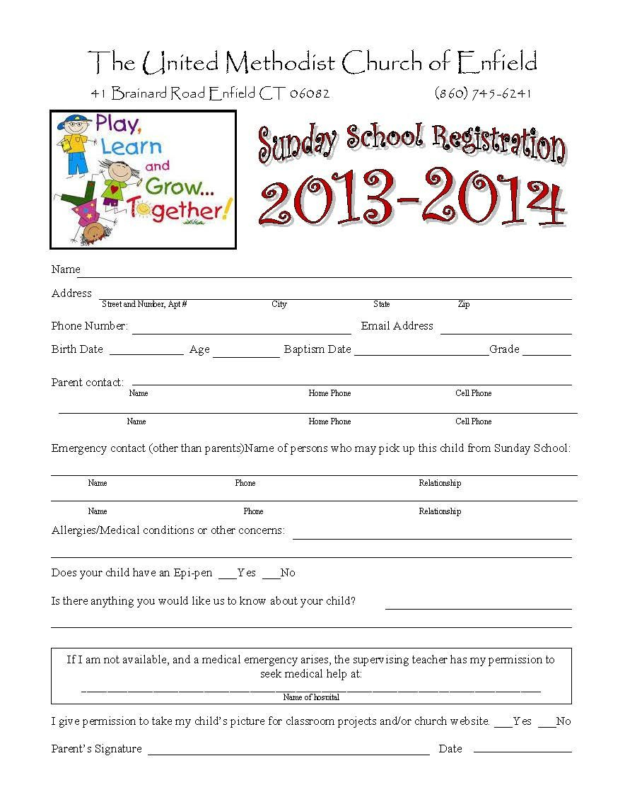 Sunday School Registration Form | Toddler Sunday School inside Printable Children's Church Sign In Sheet Template