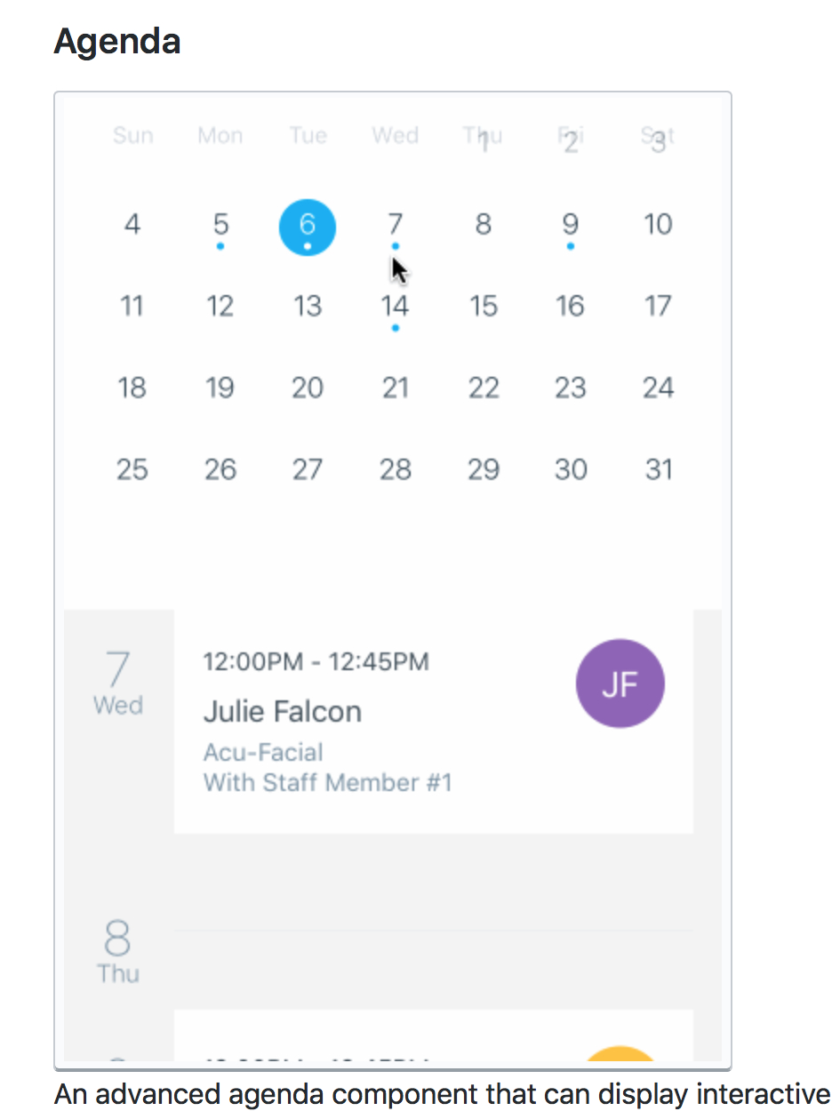 Support For Time In Agenda Component · Issue #209 · Wix for React-Native-Calendars Agenda Example
