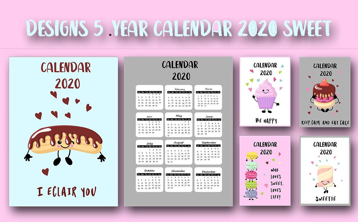 Sweet 2020 Year Calendar By Annetart | Thehungryjpeg for Mauritius School Calendar 2020
