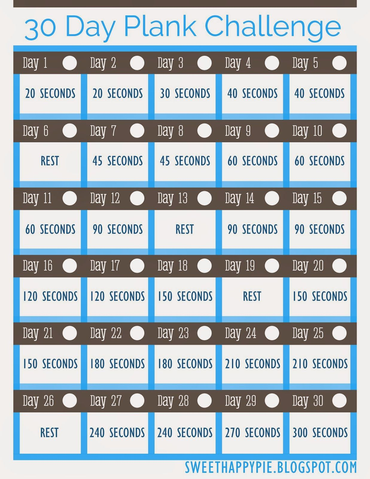 Sweet Happy Pie: 30 Day Plank Challenge ~ Free Pretty for 30 Day Plank Challenge Printable