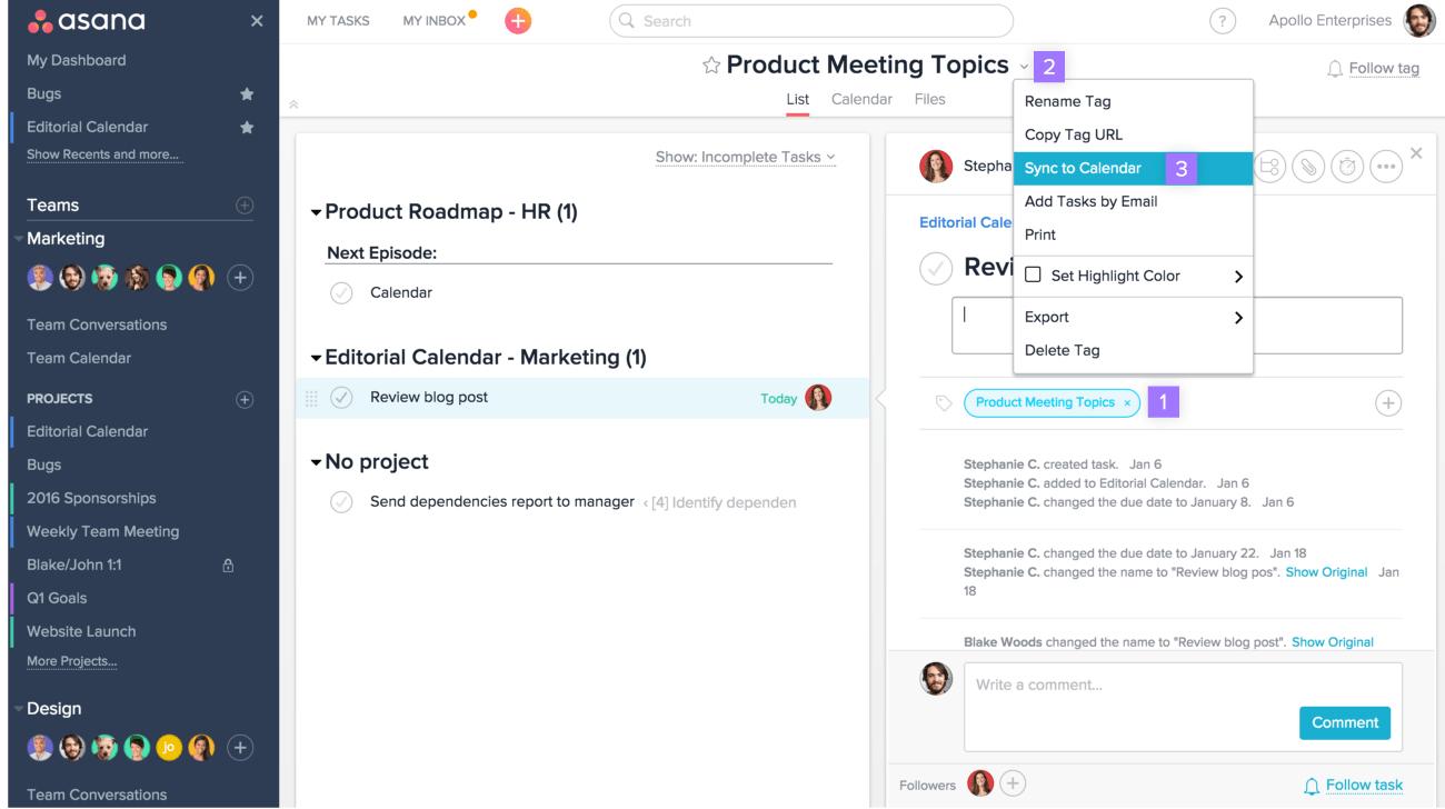 Sync Asana + Google Calendar, Outlook, Apple | Product Guide for Asana Export Calendar