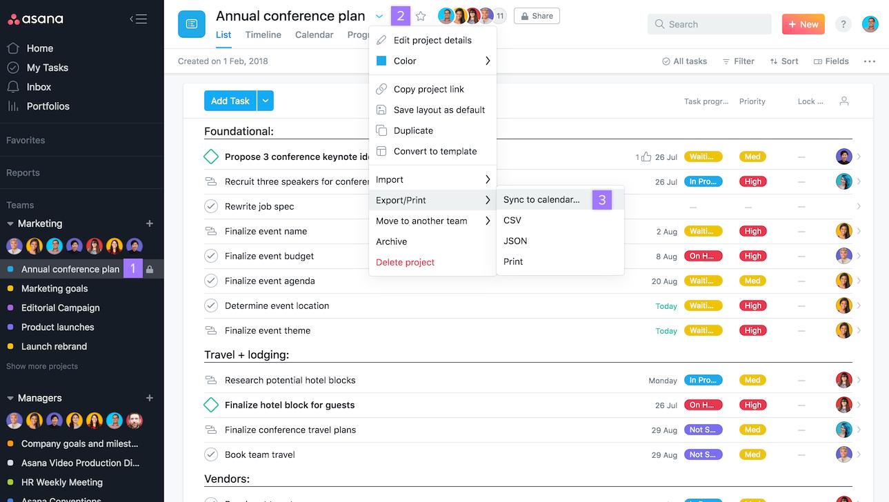 Sync Asana + Google Calendar, Outlook, Apple | Product Guide throughout Asana Export Calendar