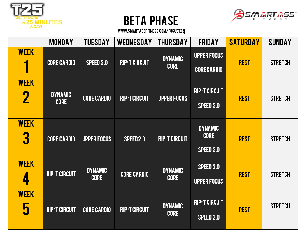 T25 Beta Schedule | Focus T25 Beta Schedule | T25 Schedule regarding Shaun T Calendar